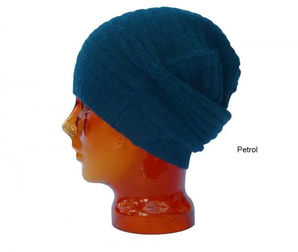 Mütze aus Babyalpaka petrol