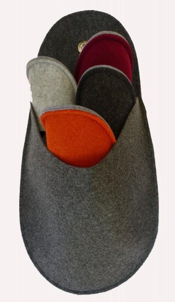 Gästepantoffelset anthrazit ohne Bordüre